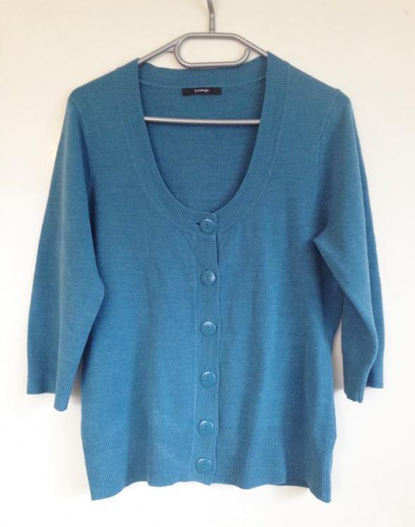 George Sweter sweterek kardigan głęboki dekolt niebieski niebieska M L 38 40 XL 42 używany na guziki