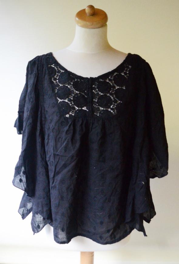 Bluzka Czarna Ażurowa Tłoczony Wzór Lindex XL 42