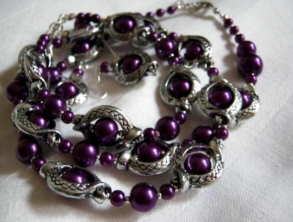 Lawenda nocą komplet biżuterii w stylu retro