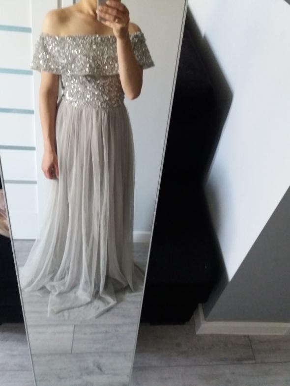 Sukienka bardot długa tiulowa cekiny zdobienia ASOS XS...