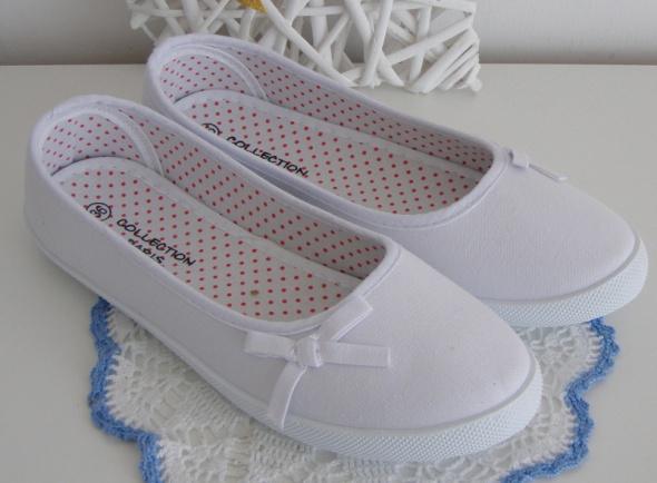 buty damskie baleriny trampki białe slip on 39 w Balerinki