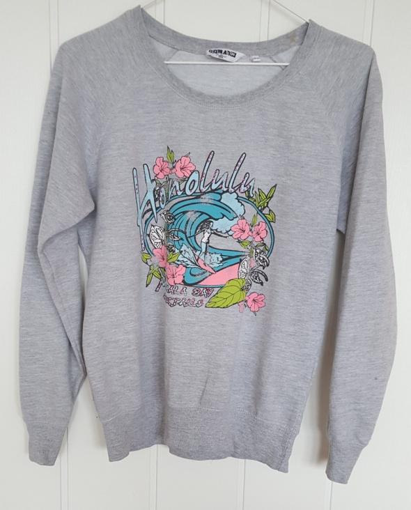 Szara bluza z nadrukiem New Look S 36 164 170 bawełna lato plaża