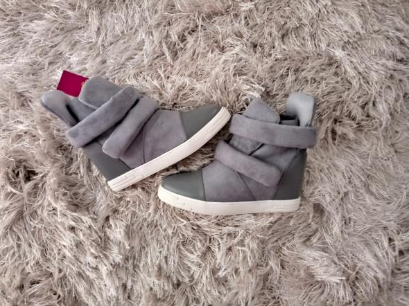 Nowe szare sneakersy zamsz