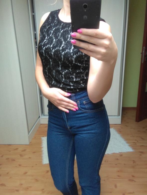 czarna koronkowa bluzka top shop