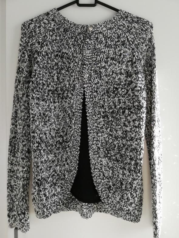 Orsay szary melanż sweterek z cekinami oraz szyfonową wstawką X...