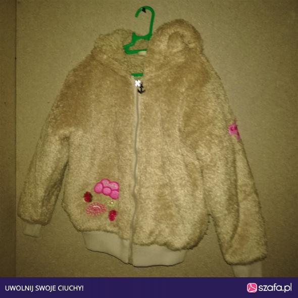 Brązowa włochata ciepła bluza z kapturem 110 116 cm 5 6 lat