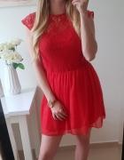 Atmosphere czerwona sukienka koronka M...