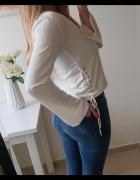 Missguided bluzka biała poszerzane rękawy wiązania z boku S