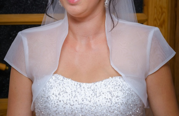 Dodatki ślubne Bolerko ślubne z krótkim rękawem organza