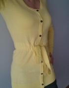 żółty sweterek kardigan wiązany...