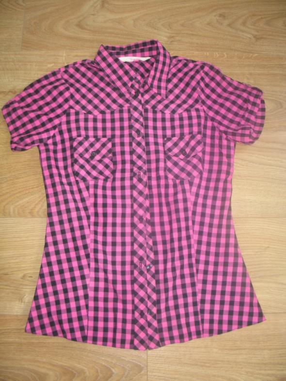 Czarno różowa koszula w kratę