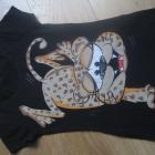 Czarna bluzka z panterą