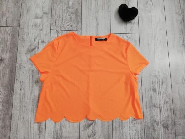 Crop Top Krótka Bluzka neonowa neonowy pomarańcz M