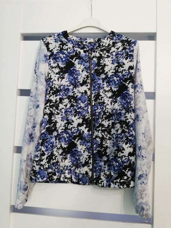 Bomberka Bluza Kurtka kwiaty niebieskie granat XS