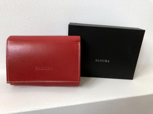 BADURA portfel czerwony skóra licowa PO D011CR CE w pudełku NOW...