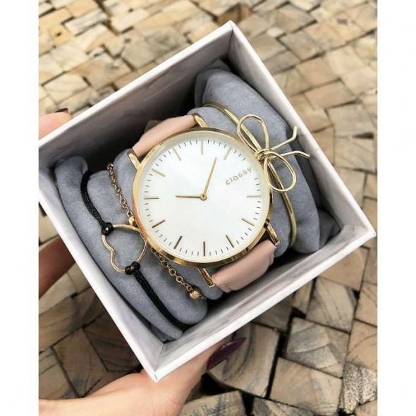 Zegarek pudrowy róż bransoletki Prezent
