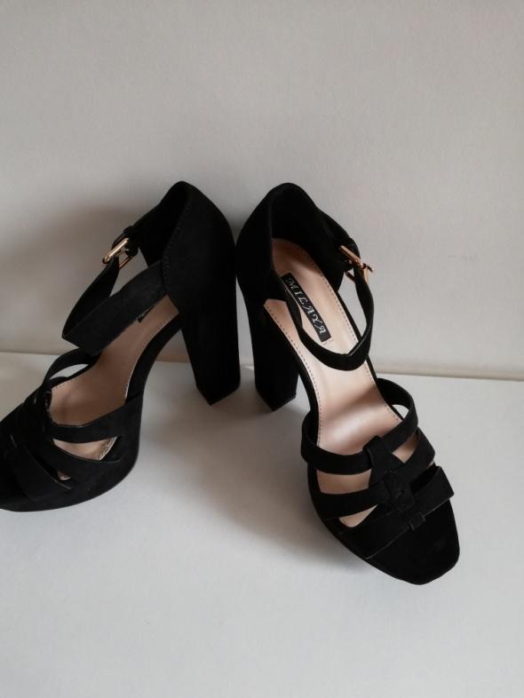 Sandały 37 sandały słupek czarne eco MILAYA