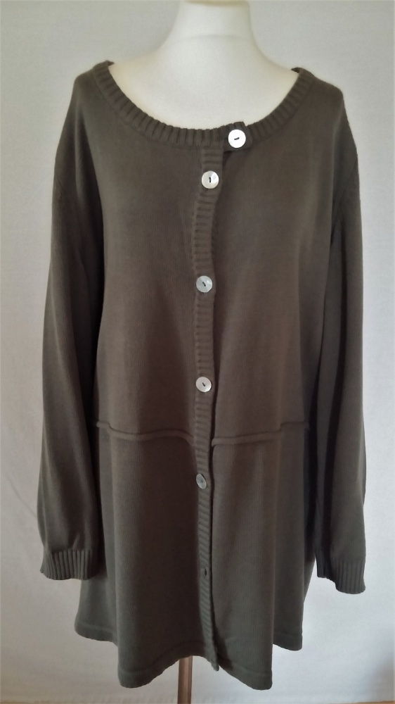 Długi sweter kardigan khaki 56 58