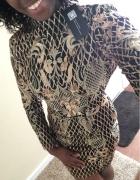 Sukienka złote hafty brokat choker gołe plecy...