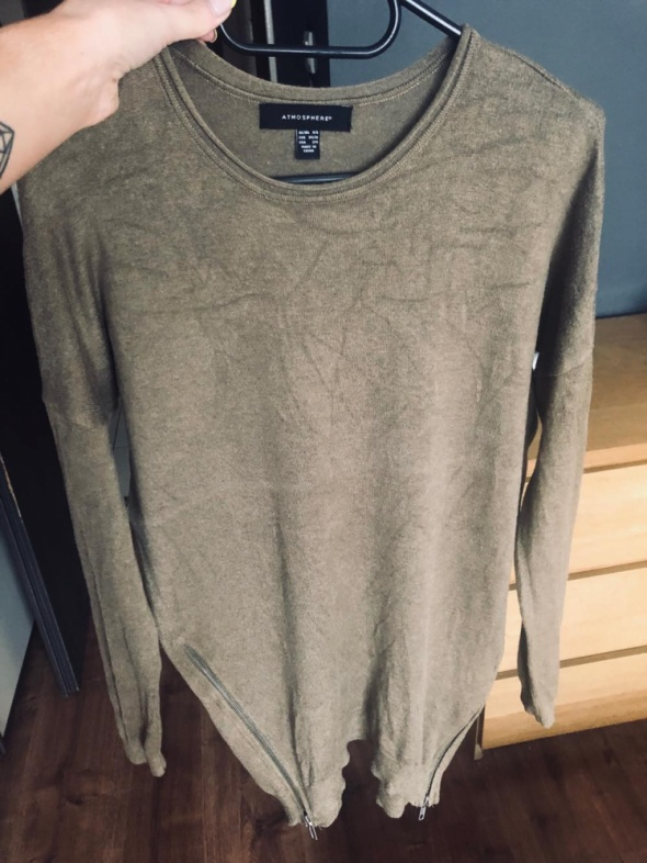Wyprzedaż sweterek khaki atmosphere zipy...
