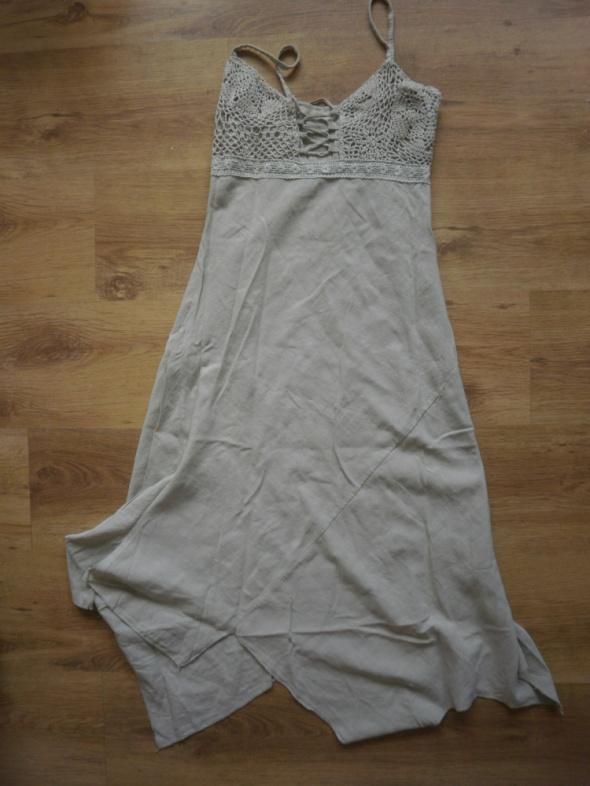 Beżowa długa sukienka