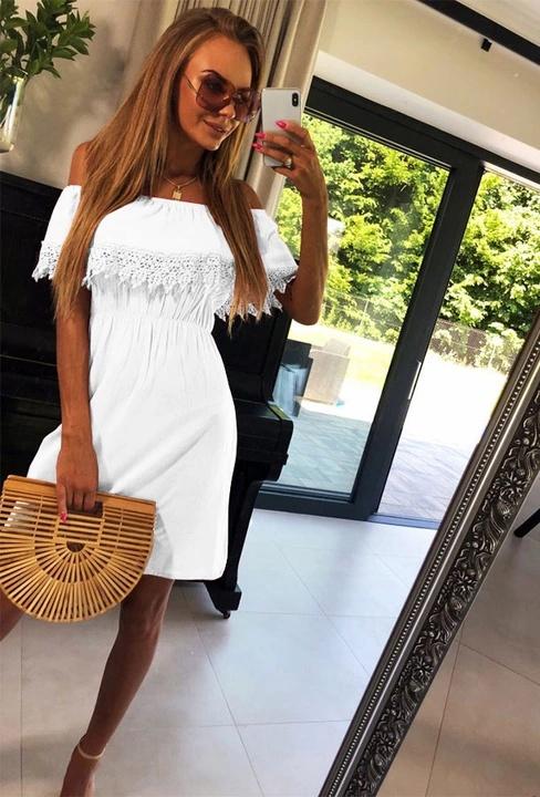 Sukienka hiszpanka biała z ażurem rozmiar SM