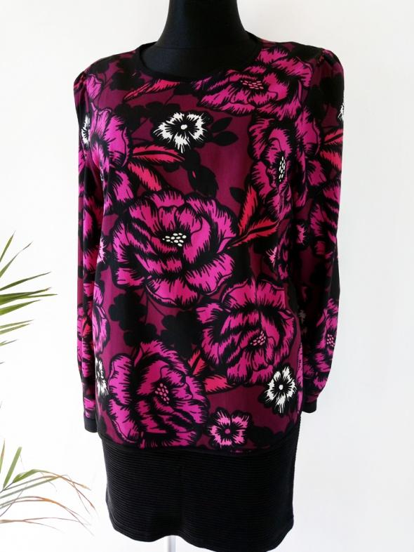 Elegancka bluzka z pięknym motywem kwiatowym długi rękaw Doroth...