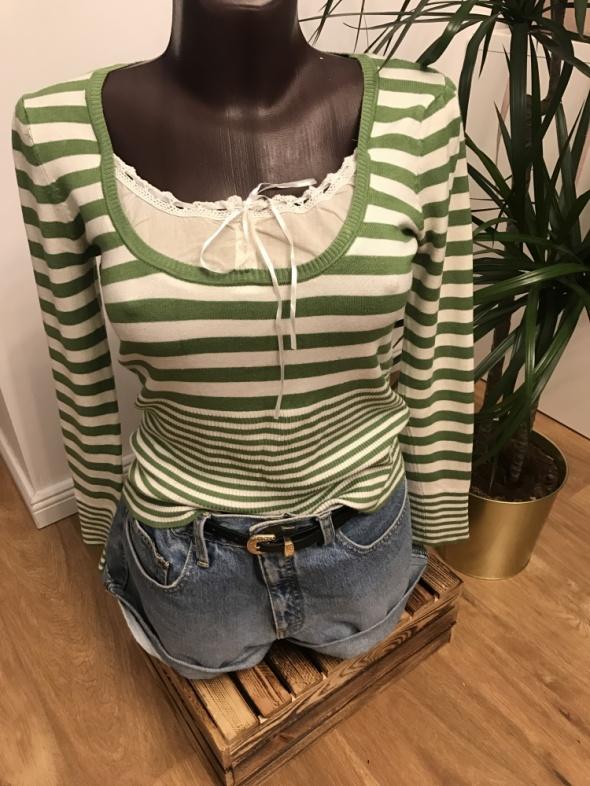 Zielony sweterek z wstawką