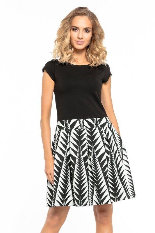 Sukienka czarna abstrakcja midi XL 42...