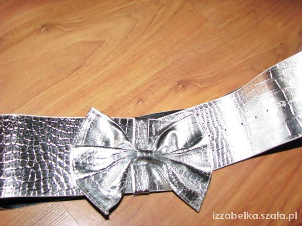 NOWY świetny srebrny pasek kokarda
