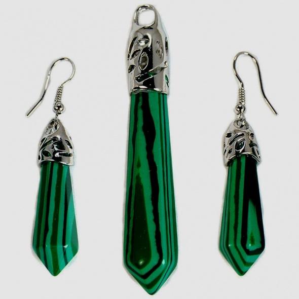 Malachit zielony piękny zestaw biżuterii...