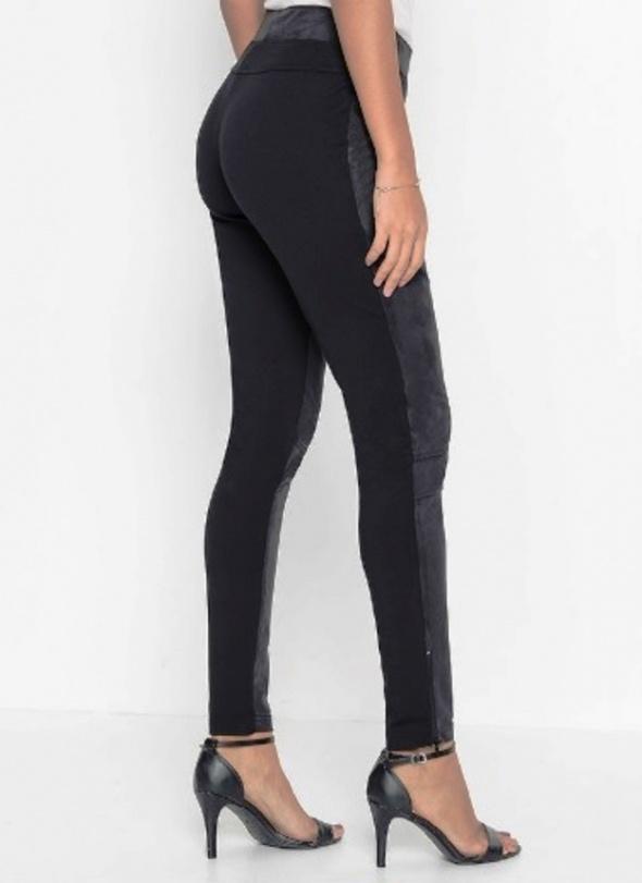 Czarne legginsy z zamszem elastyczne dopasowane...