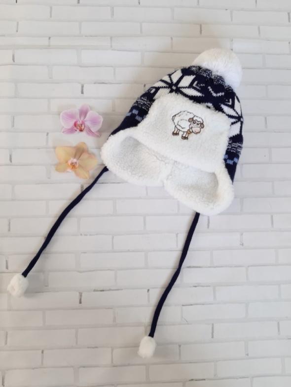 Nowa ciepła czapka zimowa uszatka pompon 2 3 lata