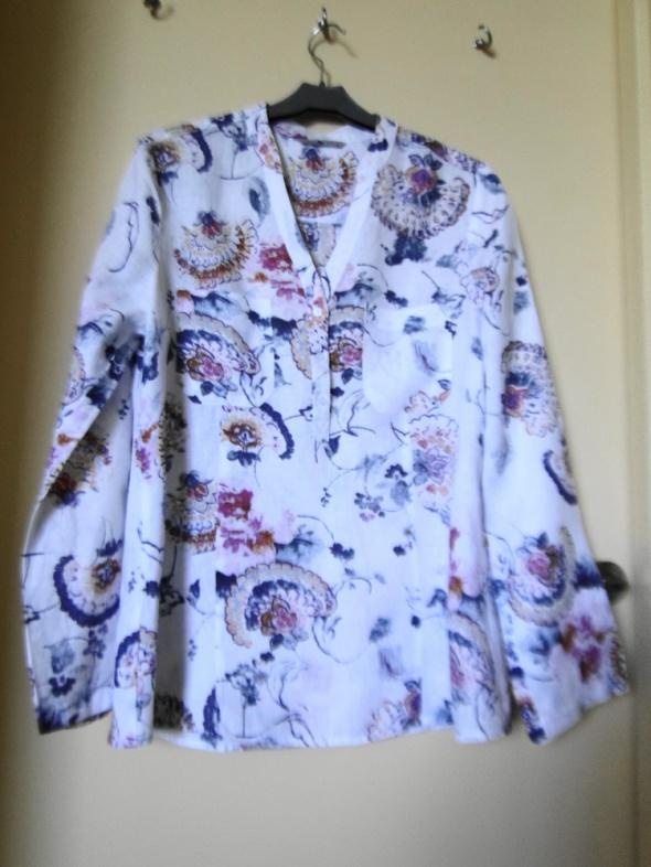 Piękna lniana bluzka koszula jak nowa 40 podwijane rękawy z pat...