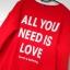 Bershka czerwona bluza dresowa all you need is love napis oversize