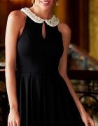Sukienka czarna 34 XS Kołnierzyk zdobiony Kamienie...