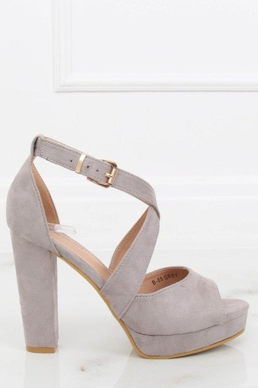 Sandały sandałki szare na obcasie wiązane