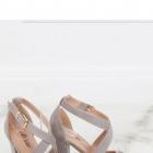 sandałki szare na obcasie wiązane