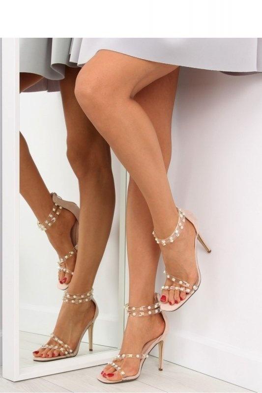 Sandały sandałki nude na obcasie glamour