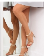sandałki nude na obcasie glamour...