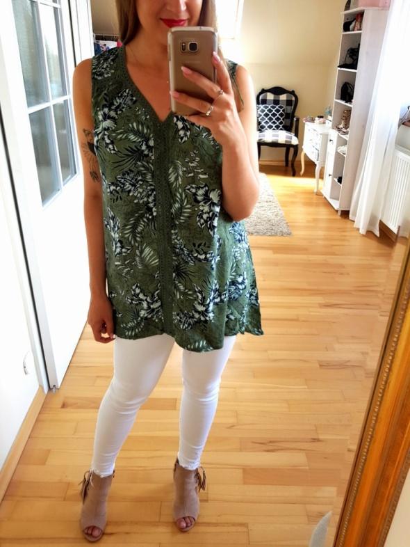 Bluzki Zielona bluzka top kwiaty koronka XXL 44