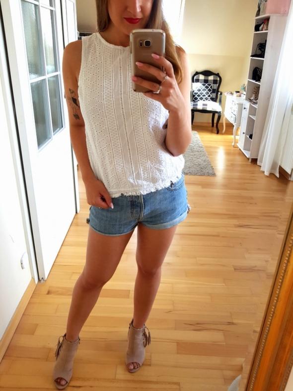 Biała ażurowa bluzka New Look ażur S 36 koronka