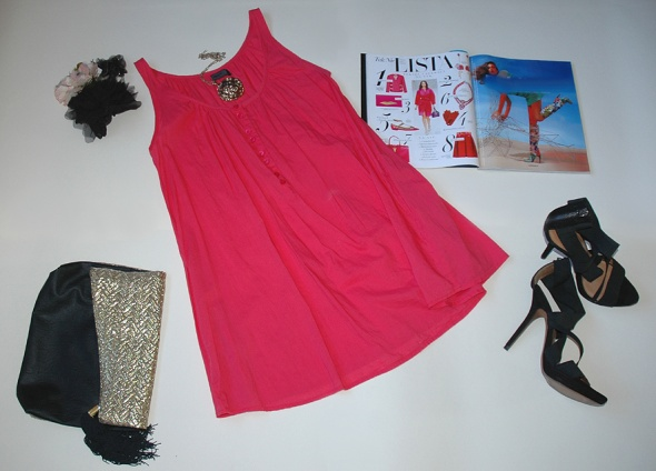 Sukienka ONLY malinowa marszczona Coachella boho S...