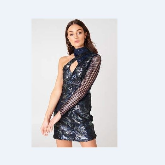 sukienka nakd fashion cekinowa asymetryczna