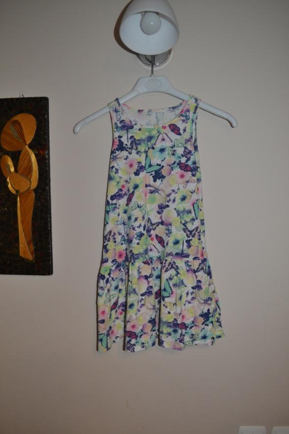 Sukienka motyw kawiaty motyle H&M 122 cm 128 cm 7