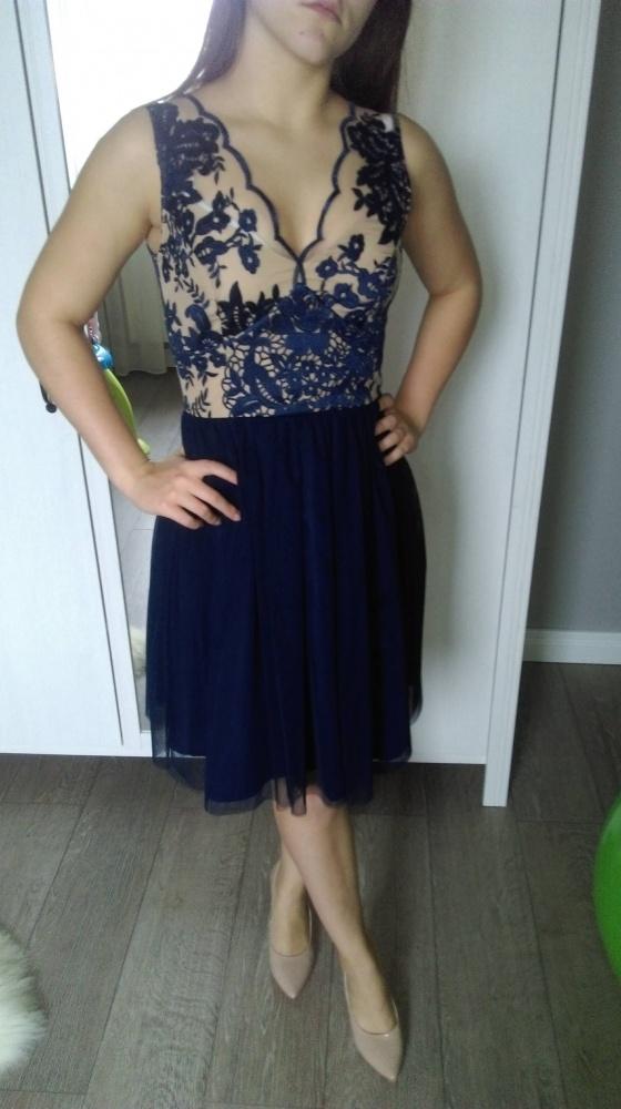 Granatowa sukienka Illuminate koronka S