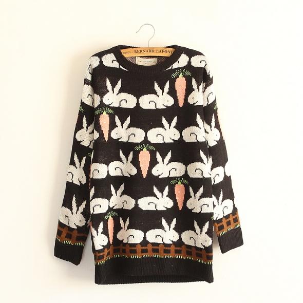 Sweter wielkanocny króliki z marchewką