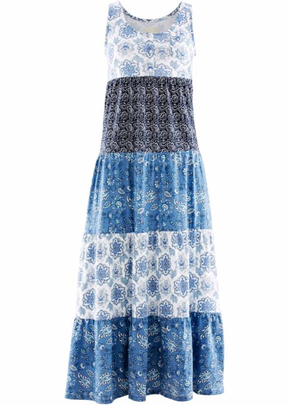 Długa sukienka z falbanami boho styl niebieska...