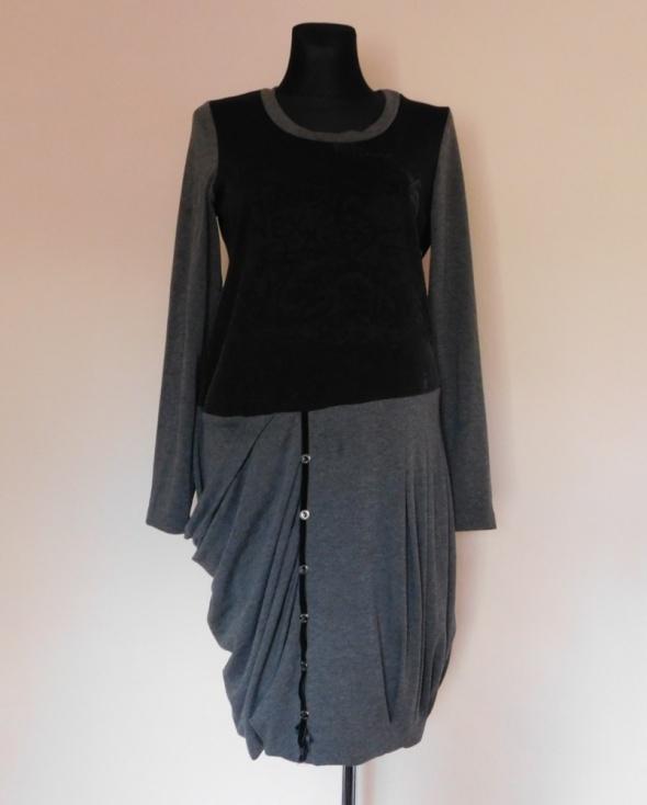 Nexx sukienka szara czarna midi 44