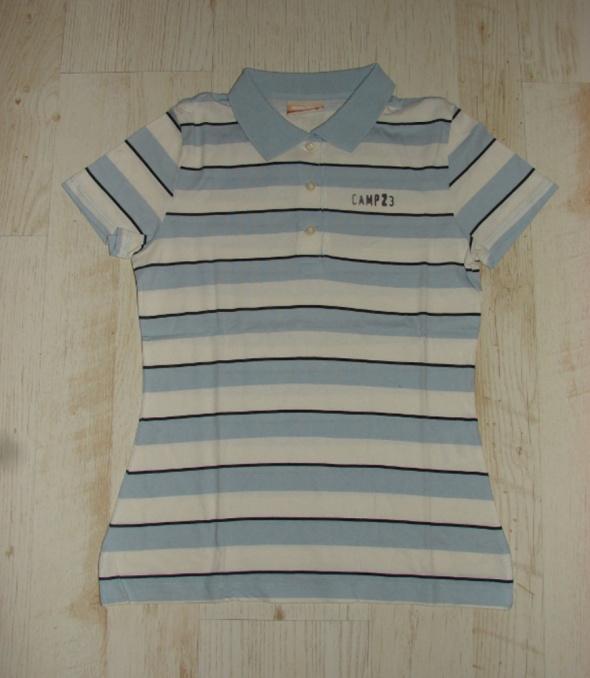 Bluzka polo paski białe błękitne L